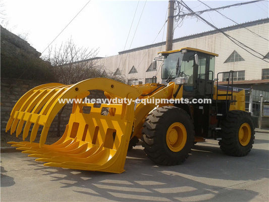 5 Ton Loading Capacity Wheeled Front End Loader 857 Model dengan Mesin Grapple Cummins Grapple untuk Opsi